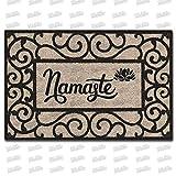 MsMr - Felpudo rectangular de goma para entrada de entrada, diseño de Namaste, parte superior de tela no tejida, 15.7 x 23.6 pulgadas