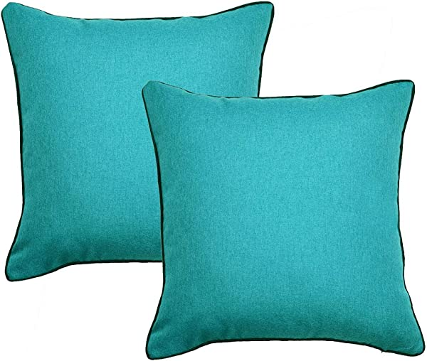 Sykting Decorative Pillow Covers Textured Burlap Linen Throw Pillow Covers With Piping Pack Of 2 For Sofa Couch Bed 18x18 Teal Blue