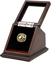Championship Ring Display Case Box Real Wood and Framed Glass Lid |Single Stand 1 Slot| Gift for Sports Fans