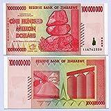 Zimbabwe 100 millones de dólares 2008 UNC, récord mundial de inflación, billetes de banco en moneda