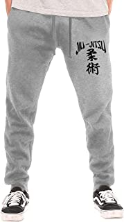 Men's Jiu-Jitsu Japanese Characters Casual Cotton Jogger Pants, Workout Beam Trousers