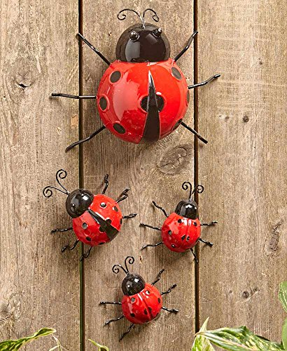 The Lakeside Collection Metal Ladybug Garden Decorations with Red and Black Spots - Set of 4
