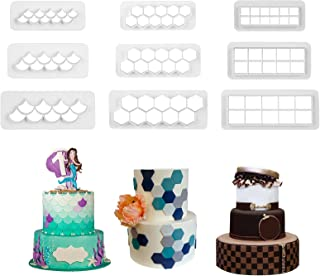 Runhiskii 9 Pieces Cake Mold Cookie Fondant Cutters, Geometric Biscuit Cutters for Birthday Cake Cupcake Decorating, Squar...