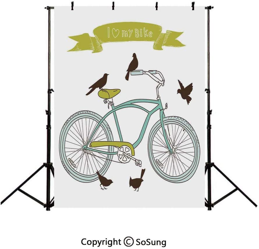 10x12Ft Vinyl Bicycle Backdrop for Photography,Inspirational Cycling with World Map Reflection Motivational Sports Illustration Background Newborn Baby Photoshoot Portrait Studio Props Birthday Party