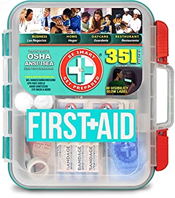 Be Smart Get Prepared - 351 Piece First Aid Kit - Exceeds OSHA ANSI/ISEA Standards for 100 People - Workplace, Home, Car, School, Emergency, Survival, Camping, Hunting, Sports