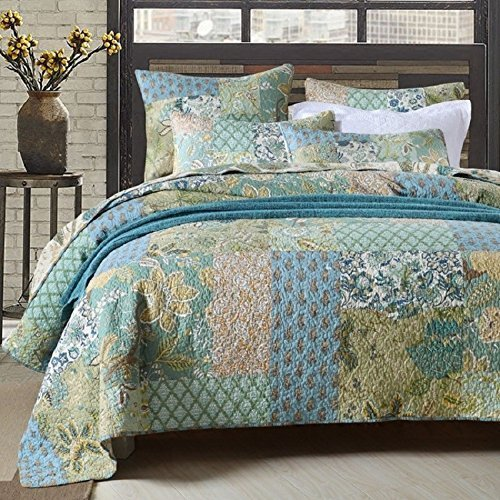 Alicemall Country Retro Floral Quilt Set 100% Cotton Reversible Soft Boho Paisley Patchwork Quilts Bedspreads Set, King Size (Flowers, King)