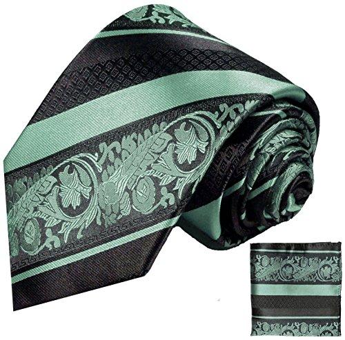 Paul Malone Herren Krawatte mintgrün schwarz barock gestreift Set 3tlg - 100% Seide - Grüne Seidenkrawatte mit Einstecktuch und Manschettenknöpfe
