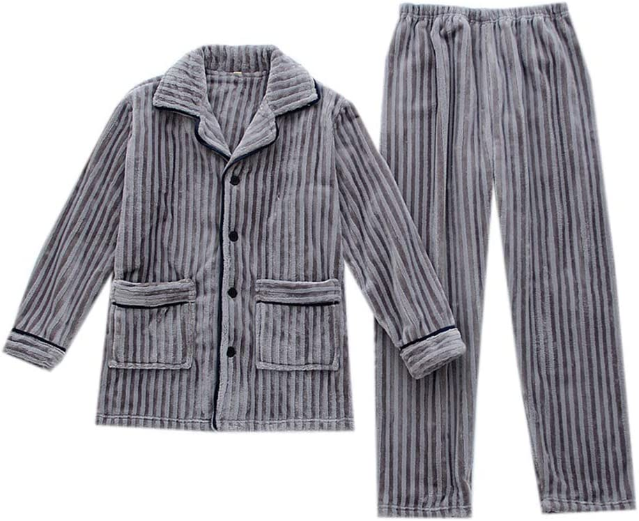 Men's Simple Flannel Pajamas Set,Autumn Winter Long Sleeve Large Size Thickened Warm Two Piece Suit Sleepwear Casual Loungewear,Gray,M