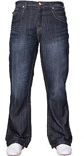 APT Mens Basic Blue Bootcut Wide Leg Flared Work Casual Jeans Big