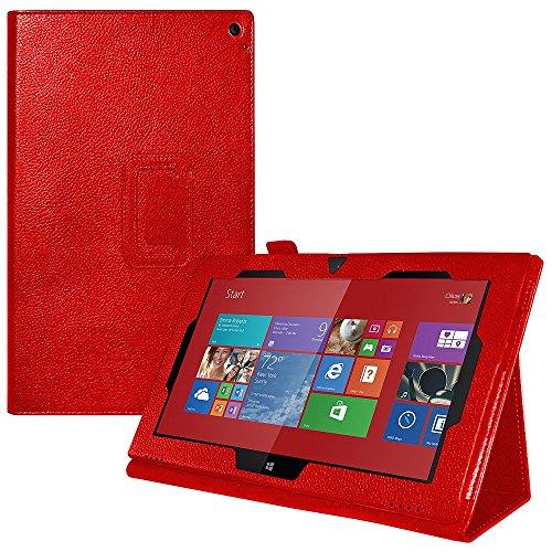 Amzer Slim Shell Portfolio Multi Angle Folio Case Carry Cover for Nokia Lumia 2520 - Red Canvas (AMZ96752)