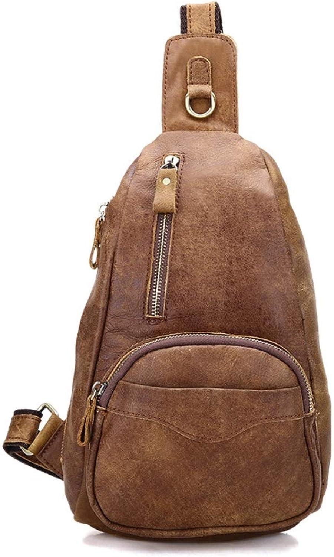 Souliyan Leather Sling Bag Chest Pack Shoulder Backpack Crossbody Shoulder Bag Messenger Bag for Casual Sport Travel Business (color   Suede Brown)