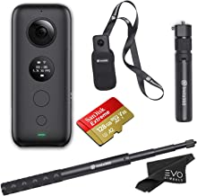 Insta360 ONE X 360 Camera with 5.7K 4K 3K Video and 18MP Photos - Bundle Includes Bullet Time Handle, Invisible Selfie Stick, 128GB SanDisk Extreme microSDXC (4 Items)