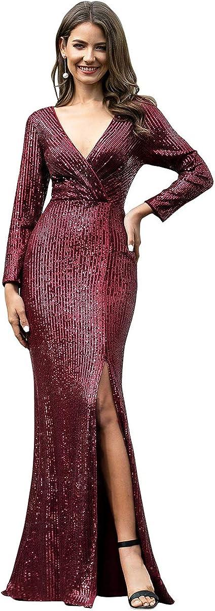 Ever-Pretty Women Sequin Evening Dress Long Sleeve Side Split Evening Gowns 0824