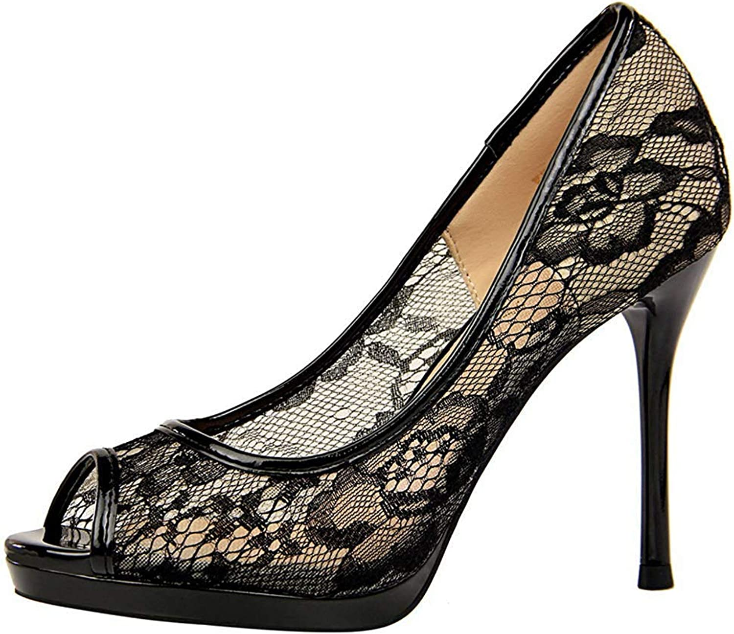 Women's Peep Toe Pumps with Platform - Sexy Cutout Lace Mesh Slip On - Stiletto High Heels Wedding shoes