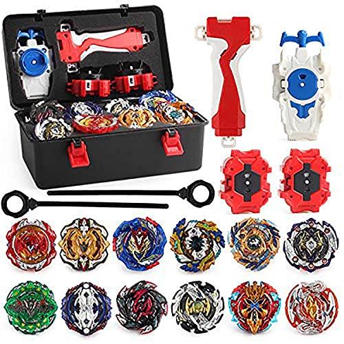 OBEST Conjunto de Peonzas Juguetes con Estuche Portátil, 12 Nuevo Nado Spinner con 2 Turbo Burst Launcher, Gyro Spinning Pocket Box