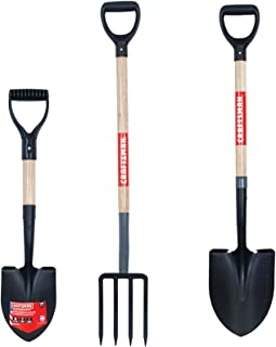 CRAFTSMAN CMXMKIT0120 3-Piece Wood Handle D-Grip Digging Tool Set with Compact Shovel, 4-Tine Fork and Round-Point Shovel