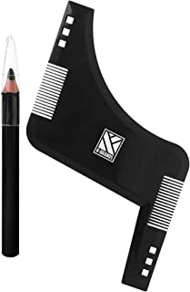Beard Shaping and Styling Template Comb Tool with Marking Pencil