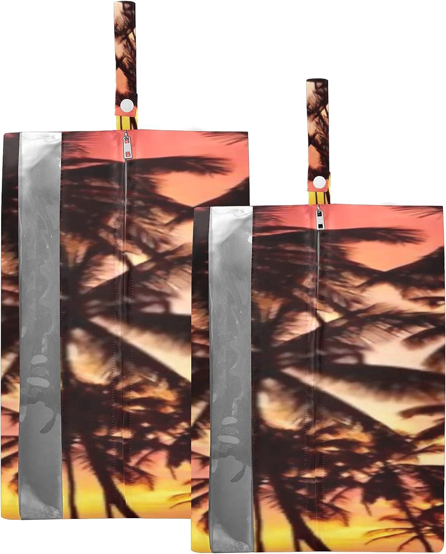 Waterproof Travel Shoe favorite Bag Pack Palm Tropic Trees Son Silhouette Ranking TOP5