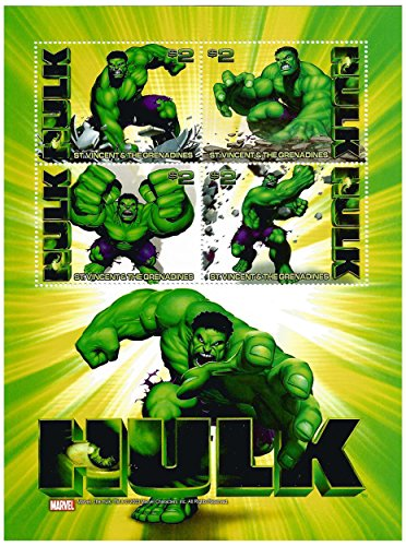 L'incredibile Hulk Marvel Comics licenza foglio di francobolli da collezione con 4 francobolli/St. Vincent / 2003