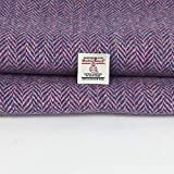 Harris Tweed - Tessuto 100% pura lana a spina di pesce, realizzato in Scozia, tartan, merceria, 1 etichetta inclusa., Lana, Viola, 36cm x 25cm