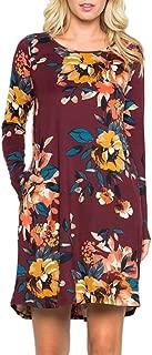 Jojckmen Autumn Women Floral Printed Long Sleeve Dress Girl O Neck Swing Short Dress