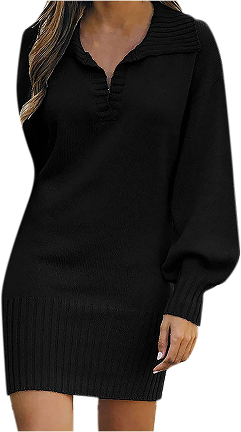 Women Long Sleeve Dresses Collar Casual Solid Soft Pullover Long Sweaters Summer Autumn