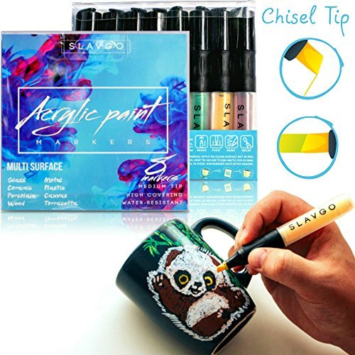 Permanent Acrylic Paint Pens for Porcelain, Rocks, Glass, Wood, Metal, Ceramic - Art Set of 8 Acrylic Paint Markers SLAVGO Medium Chisel Tip - Ideal Gift for 4+ years old Girls and Boys