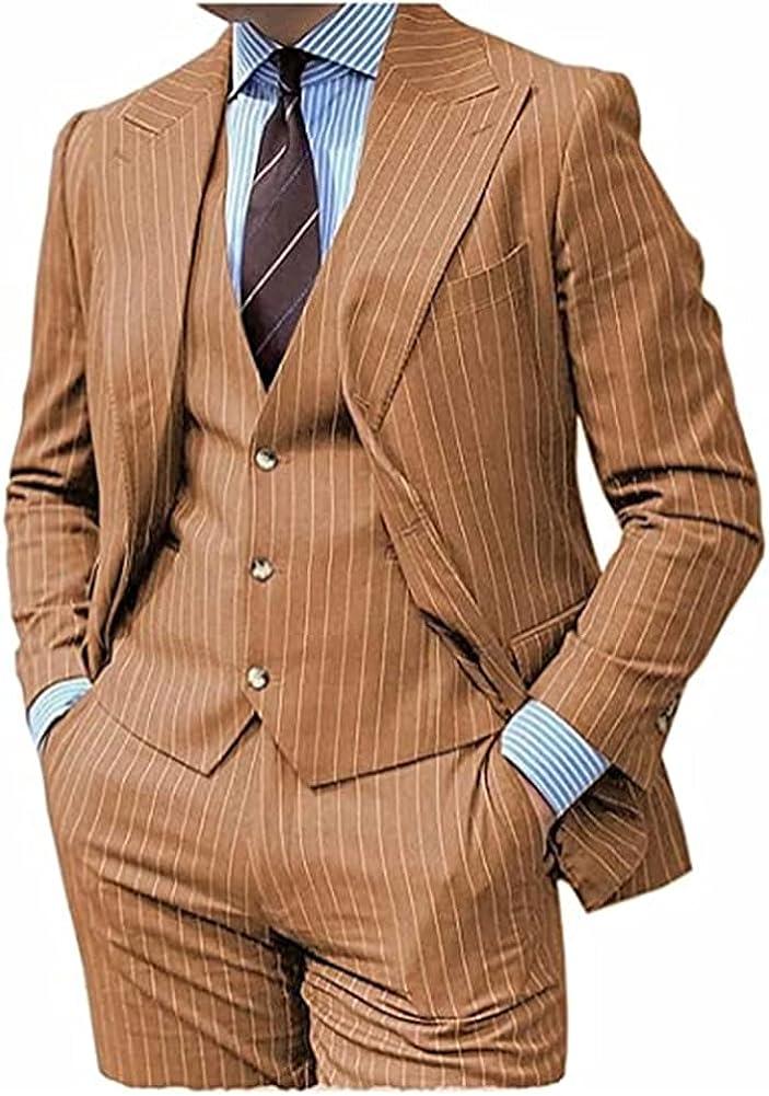 Men's Slim 3-Pieces Stretch Slim fit Pinstripe Blazer Suit with Notched Lapel