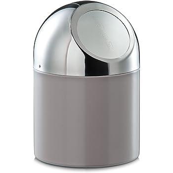 1 pieza Papelera de mesa con tapa abatible acero inoxidable acero inoxidable plata Bambelaa 12/cm de di/ámetro y 19/cm de alto aprox.