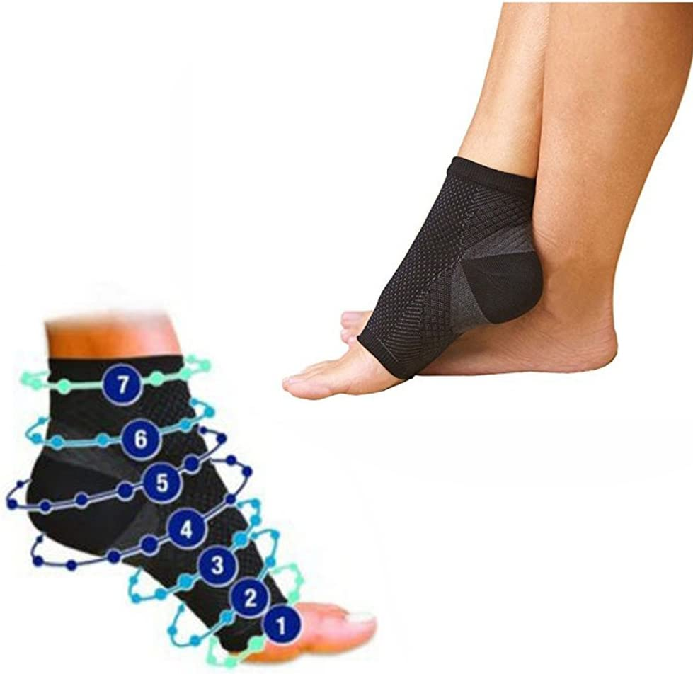 Multitrust 1 Pair Compression Foot Ankle Angel Sleeve Anti Fatigue Sock for Ankle Swelling Plantar (L/XL) : Sports & Outdoors