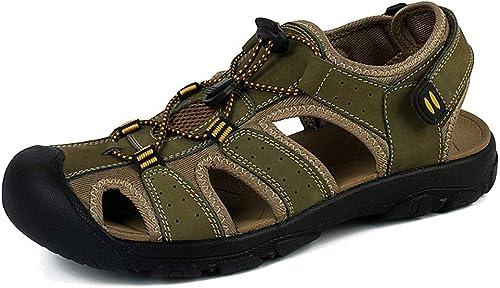 L-X Chaussures de Randonnée Estivale en Cuir Véritable Véritable pour Hommes Sport Trail Chaussures de Randonnée Estivales en Plein Air, Vert, 39 UE