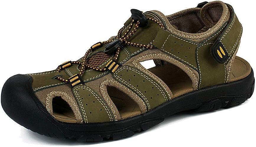 L-X Chaussures de Randonnée Estivale en Cuir Véritable pour Hommes Sport Trail Chaussures de Randonnée Estivales en Plein Air, Vert, 43 UE