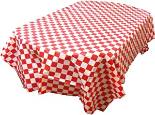 Jollymoda Checkered Tablecloth Plasitc Checker 1 Pack Picnic Table Cover (Red and White)