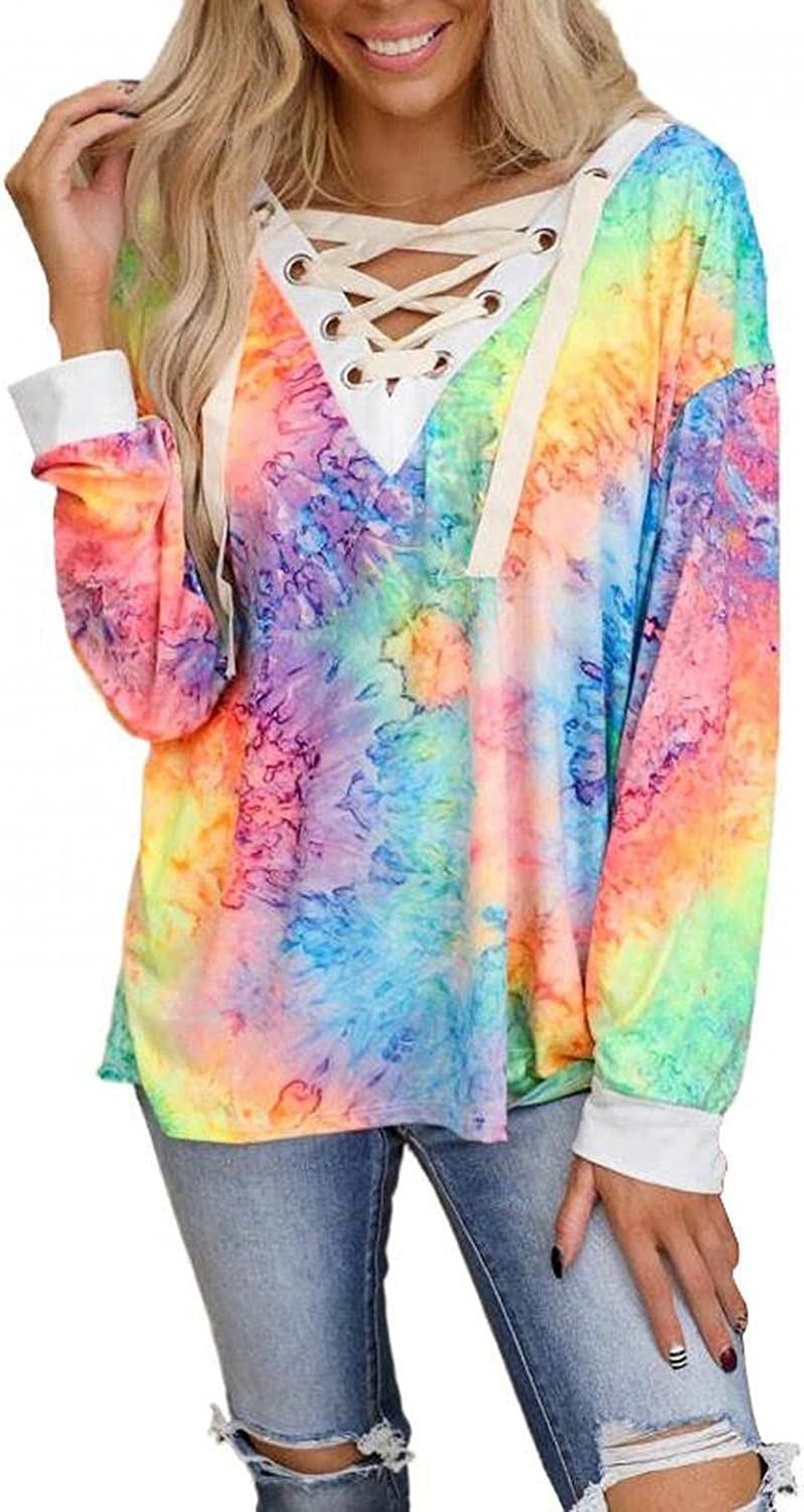 Women's Trendy Blouse Fashion Tie-dye Printing Long-Sleeved Shirts New V-Neck Casual Loose Fit T-Shirt Top