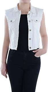 Womens Distressed Denim Button Up Sleeveless Crop Vest