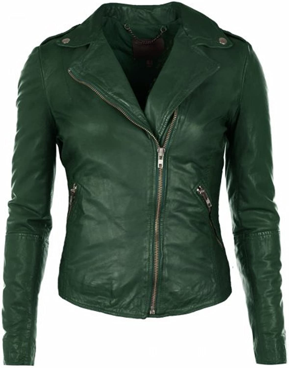 DOLLY LAMB Womens Leather Jacket Genuine Lambskin Green Womens Biker Zipper Jacket XS to XXL with Long Zipper on Sleeves