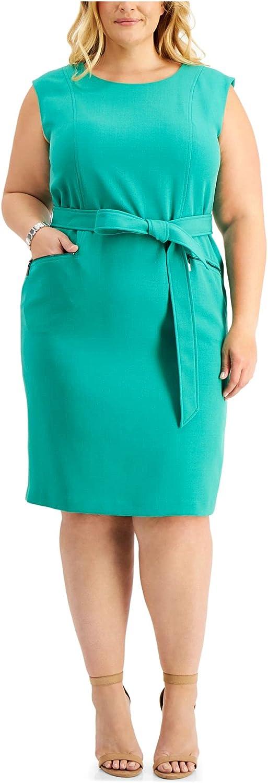 Kasper Womens Green Sleeveless Jewel Neck Knee Length Sheath Wear to Work Dress Size 24W