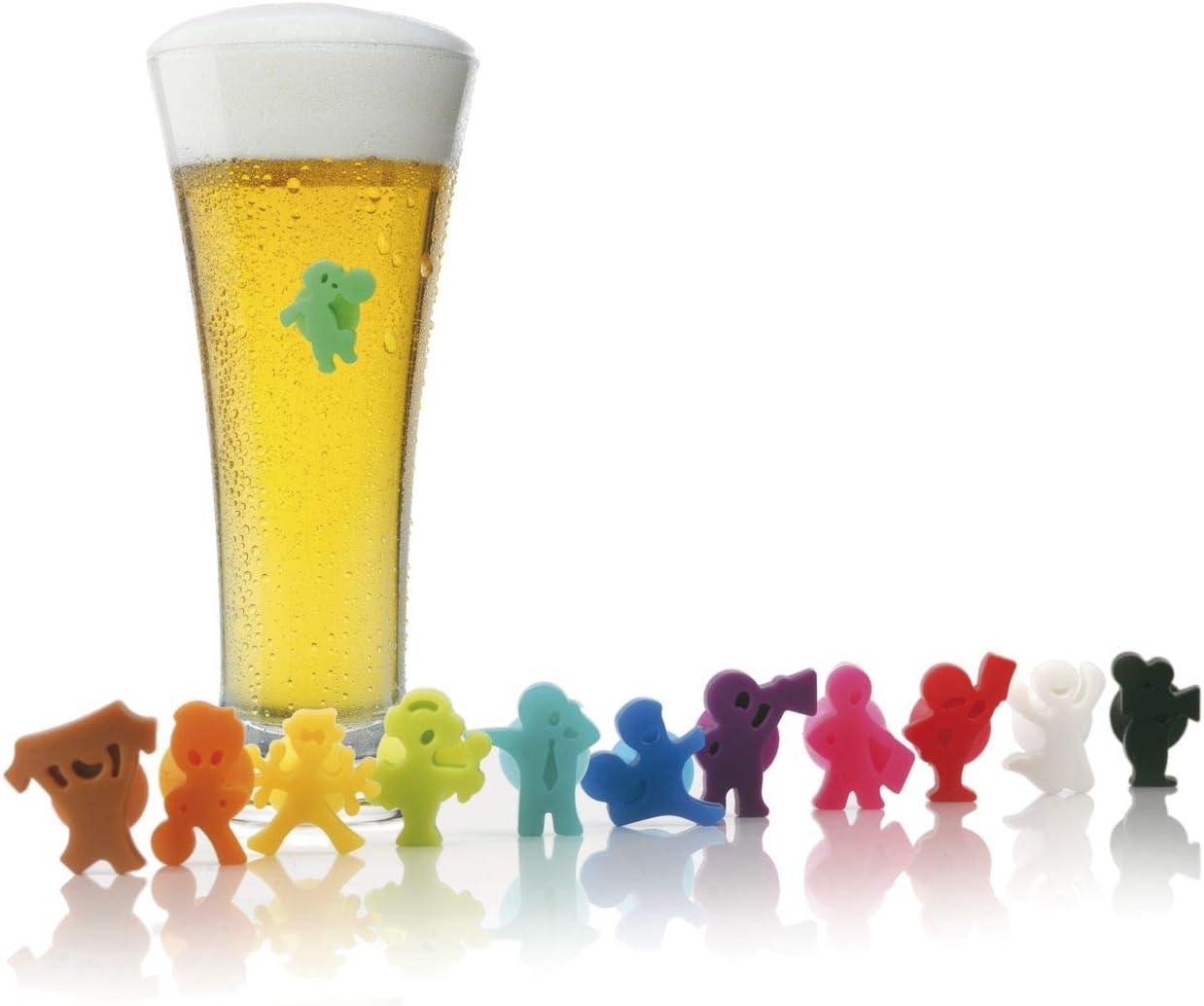 Vacu Vin 1886060-Party People Marcadores de Copas, Silicona, Multicolor, 1.7x7.2x2 cm, 12