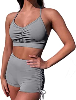 XFKLJ Sports Bra Yoga Pants Pink Women Gym Suits Yoga Sets Fitness 2pcs Sports Bras Seamless Shorts Sportwear Outfits Work...