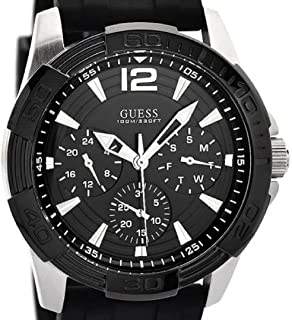 GUESS Men U0366G1 Black Multi-Function Sporty Watch with Silver Interlinks