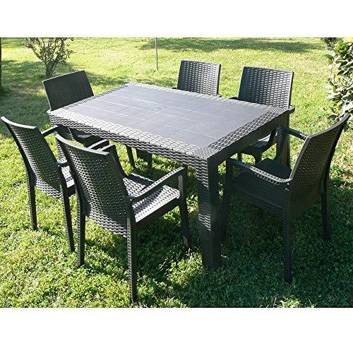 DIMAPLAST Dimaplast2000 AMZ004 Set Garden Top Tavolo e 4 Poltrone in Resina Effetto Rattan da Giardino, Antracite, 140x80x72 cm