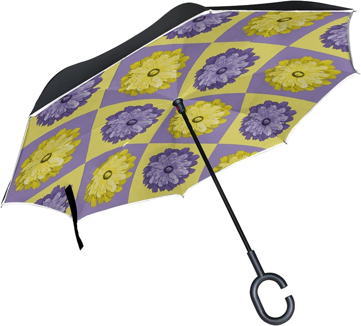Double Layer Ingreened Quilt Pattern Yellow Purple Textile Umbrellas Reverse Folding Umbrella Windproof Uv Predection Big Straight Umbrella for Car Rain Outdoor with CShaped Handle