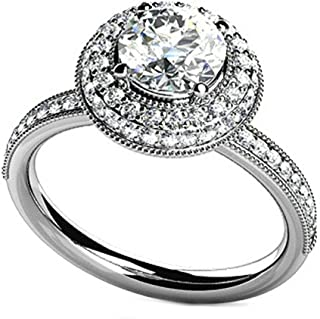 Custom Ring-925 Sterling Silver Wedding Promise Ring for Women Cubic Zirconia Round Silver