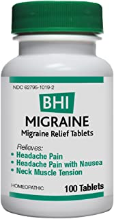BHI Migraine Relief Natural, Safe Homeopathic Relief - 100 Tablets