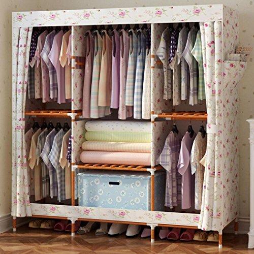 LyMei Stoffschränke, Portable Wardrobe Storage Massivholz Kleiderschrank Waschbar wasserdicht Oxford Tuch Closet Organizer Lagerung Faltbare Garderobe,A_150*46 * 170cm