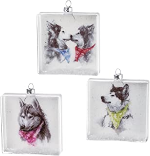 Siberian Husky Snow Dogs 4 inch Square Glass Christmas Ornaments, Set of 3