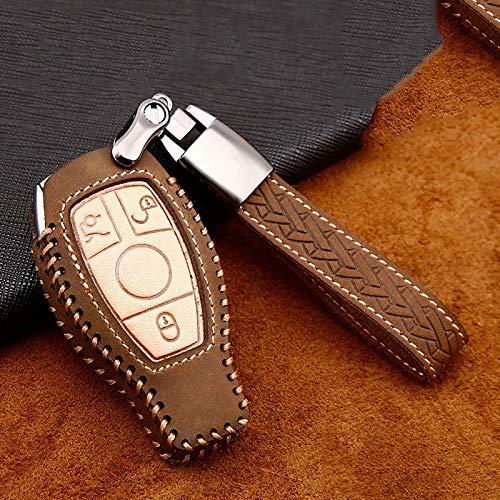 Aishengjia Funda De Cuero para Llave De Coche para Mercedes-Benz C W204 Glc 260 C200 Funda para Llave CIA Gla W205 W212 C S E Clase Accesorios