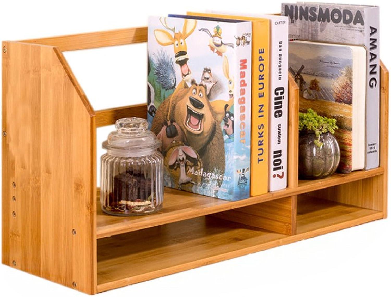 Bamboo Desktop Expandable Organizer Stand Bookshelf Display Storage For Office & Home-Desktop Adjustable Expandable Bookshelf Rack With Drawers (Size   No drawer)