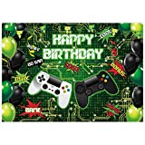 Allenjoy 7x5ft Happy Birthday Theme Green Video Game On Backdrop for Newborn Kids Retro Gaming Party Supplies Decors Level Up Background Baby Shower Cake Smash Banners Studio Photoshoot Favors Props