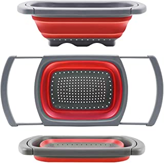Qimh Colander collapsible, Colander Strainer Over The Sink Veggies/Fruit Strainers and Colanders with Extendable Handles, ...